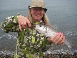 Sarah with a surface caught Bass