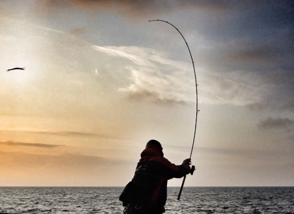 An angler casting a big lure