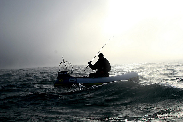 Very small boat angling