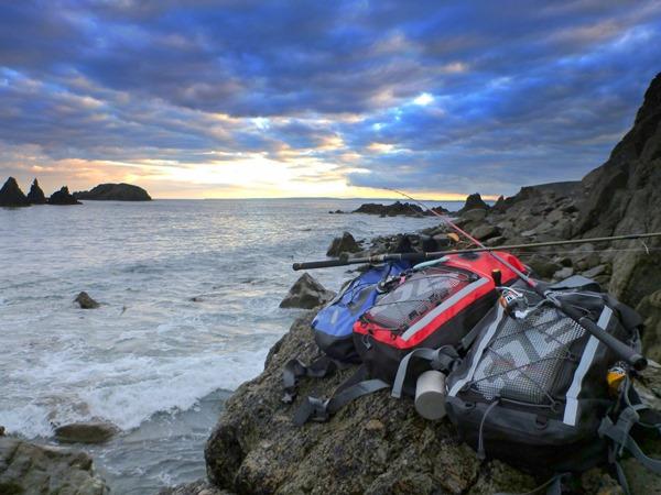 Overboard rucksacks on the rocks