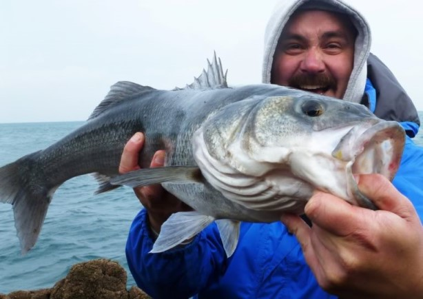 A bass angler holds a lure-caught 'double'