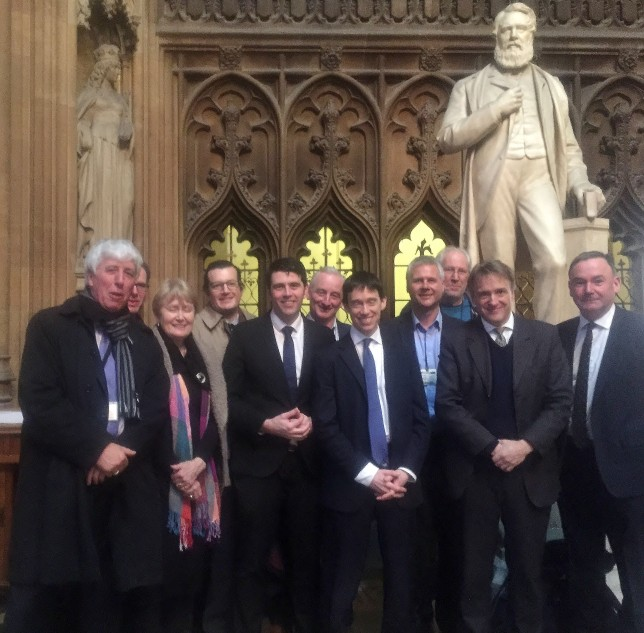 MPs and AT and BASS campaigners after the Commons debate on bass